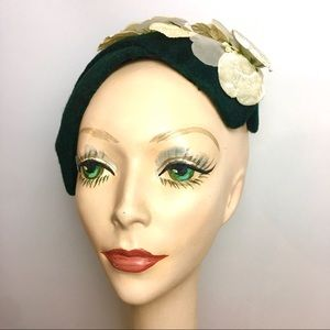 Vintage 50s Velvet Fascinator Headband Half Hat